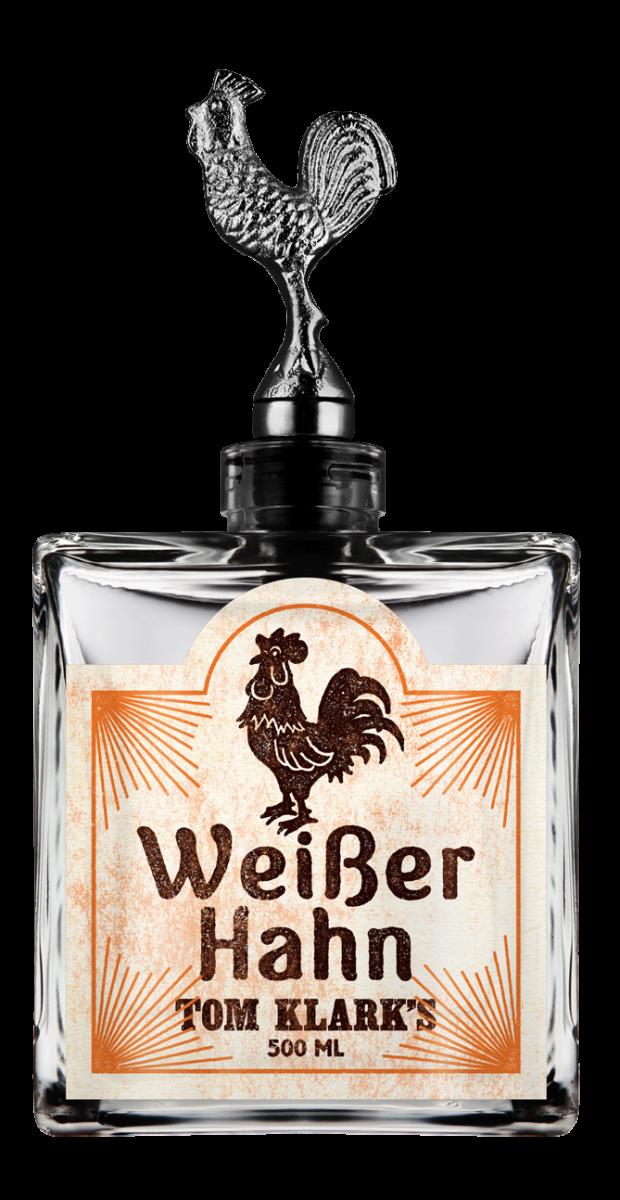 TOM KLARK Glasflasche Weißer Hahn 500ml Kapazität (Leerflasche)